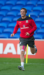 CARDIFF, WALES - Tuesday, August 9, 2011: Wales' Andy King during a training session at the Cardiff City Satdium ahead of the International Friendly match against Australia. (Photo by David Rawcliffe/Propaganda)