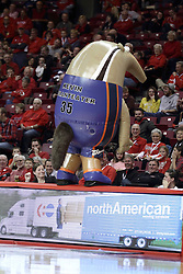 05 December 2015: Zooperstar Kevin Duranteater stands on the edge of the scorers table and sprays silly string on the audience. Illinois State Redbirds host the University of Alabama - Birmingham Blazers at Redbird Arena in Normal Illinois (Photo by Alan Look)