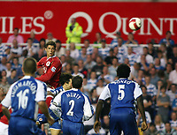 Photo: Chris Ratcliffe.<br />Reading v Manchester United. The Barclays Premiership. 23/09/2006.<br />Cristiano Ronaldo of Manchester United climbs above the Reading defence for a header.