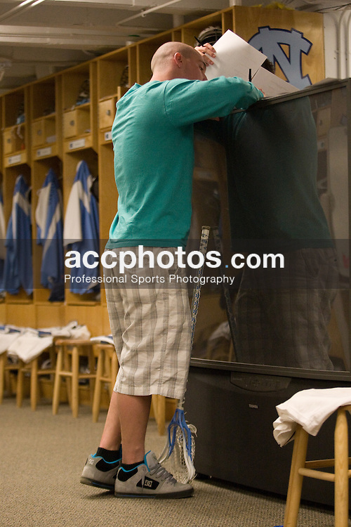 22 March 2008: North Carolina Tar Heels midfielder Nick Tintle (23) in the locker room before playing the Maryland Terrapins at Fetzer Field in Chapel Hill, NC.