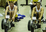 &copy; Peter Spurrier/Sports Photo +44 (0) 7973 819 551.PPP Healthcare British Indoor Rowing Championships.18th Nov. 2001.National Indoor Arena...Matt Pinsent and James Cracknell (R) matching each other, stroke for stroke, in the early stages of their race at the British Indoor Rowing Championships at the National Indoor Area at Birmingham... ........... [Mandatory Credit: Peter SPURRIER/Intersport Images]<br /> <br /> 20011118 British Indoor Rowing Championships, Birmingham.