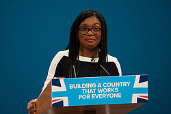 © Licensed to London News Pictures. 04/10/2017. Manchester, UK. Conservative MP Kemi Badenoch speaking on the final day of the Conservative Party Conference. The four day event is expected to focus heavily on Brexit, with the British prime minister hoping to dampen rumours of a leadership challenge. Photo credit: Ben Cawthra/LNP
