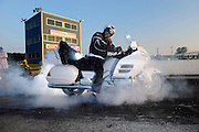 Tommy Bolton on 2008 Honda GL1800 Goldwing doing a burnout at Thunder Valley drag strip in Noble, Oklahoma