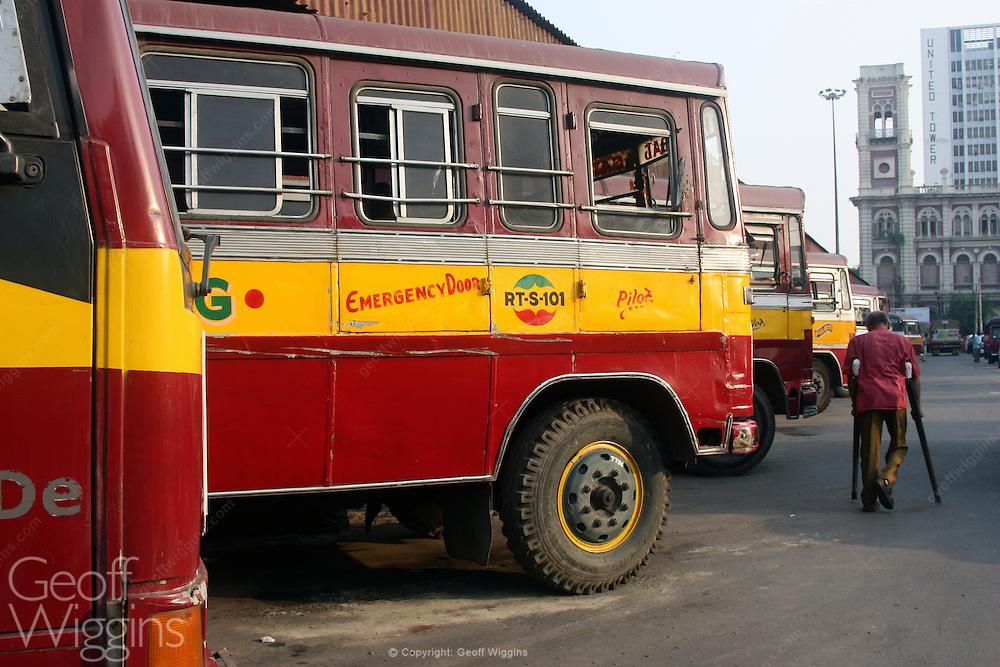 Indian city passenger bus at Howrah bus station, Kolkata (Calcutta), West Bengal