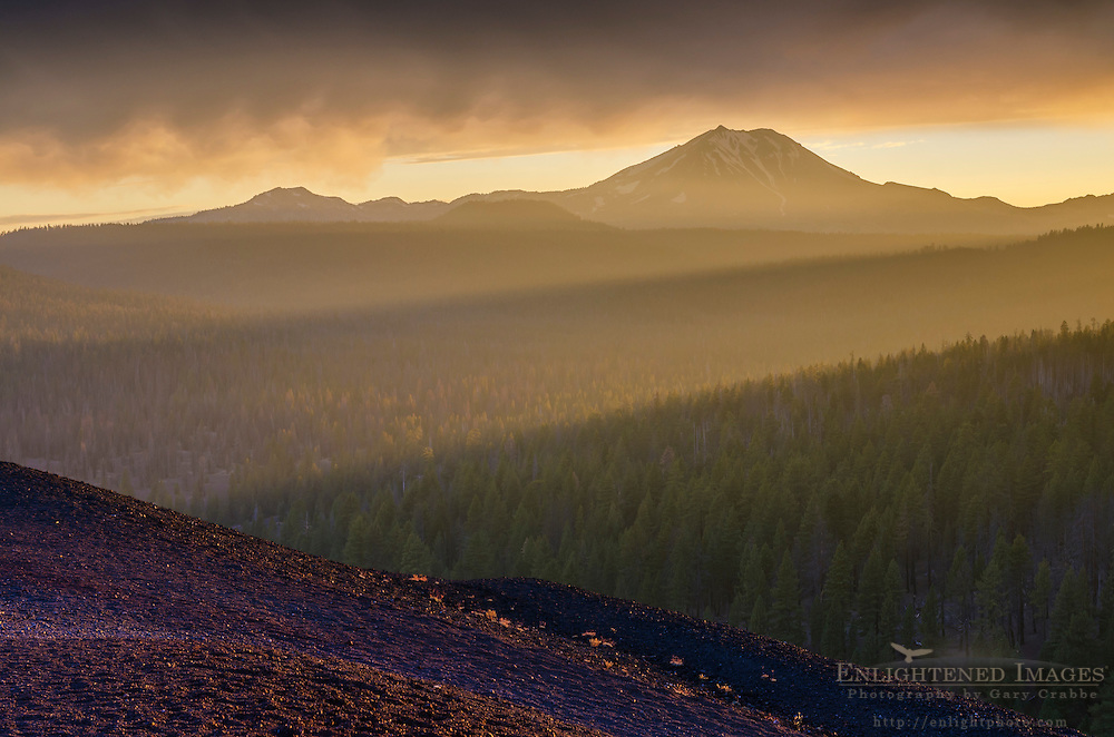 View of Lassen Peak at sunset from the top of the Cinder Conem Lassen Volcanic National Park, California