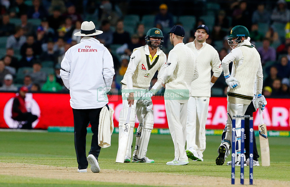 Australia's Nathan Lyon after being struck in the last over during day three of the Ashes Test match at the Adelaide Oval, Adelaide.