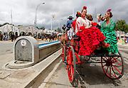 """Abril, 22, 2010. Lifestyle/Spain. Seville April Fair. A crowd of people attend today the first real day of the """"feria de Abril"""" of Seville. Many women dresses with the traditional costume of """"Flamenca"""" and the people walk,  dance """"sevillanas"""" (typical sevilian dance) and drink """"rebujito"""" (typical drink of the """"Feria de Abril"""" made by the youngdry wine """"Manzanilla""""  and carbonated drink...Una multitud de personas asisten hoy al primer día real de la feria de Abril de Sevilla. Muchas mujeres se visten con el traje tradicional de """"flamenca"""" y pasean por el recinto ferial mientras bailan, beben """"rebujito"""" (bebida típica de la feri de Abril hecha de """"Manzanilla"""" y bebida gaseosa y montan a caballo o en carruaje."""