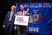 Tony Evers and Mandela Barnes address the crowd during the Election Night watch party at the Orpheum Theater in Madison, Wisconsin, Wednesday, Nov. 7, 2018.a