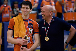 Vid Jakopin and coach Glenn Hoag at medal ceremony after the final match of Slovenian National Volleyball Championships between ACH Volley Bled and Salonit Anhovo, on April 24, 2010, in Radovljica, Slovenia. ACH Volley defeated Salonit 3rd time in 3 Rounds and became Slovenian National Champion.  (Photo by Vid Ponikvar / Sportida)