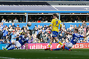 Leeds United forward Patrick Bamford (9) shoots over the bar during the EFL Sky Bet Championship match between Birmingham City and Leeds United at St Andrews, Birmingham, England on 6 April 2019.