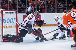 Corey Crawford of Chicago Blackhawks during NHL game between teams Chicago Blackhawks and Philadelphia Flyers at NHL Global Series in Prague, O2 arena on 4th of October 2019, Prague, Czech Republic. Photo by Grega Valancic / Sportida