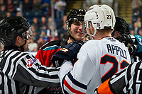 KELOWNA, BC - NOVEMBER 16:  Dillon Hamaliuk #22 of the Kelowna Rockets gets in the face of Ryley Appelt #23 of the Kamloops Blazers at Prospera Place on November 16, 2019 in Kelowna, Canada. (Photo by Marissa Baecker/Shoot the Breeze)