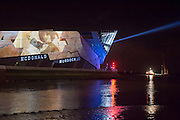 1 January 2017: Launch of Hull 2017 - Uk City of Culture.<br /> Pictured is The Deep which was illuminated by projections depicting the history of Hull.<br /> Picture: Sean Spencer/Hull News & Pictures Ltd<br /> 01482 210267/07976 433960<br /> www.hullnews.co.uk         sean@hullnews.co.uk