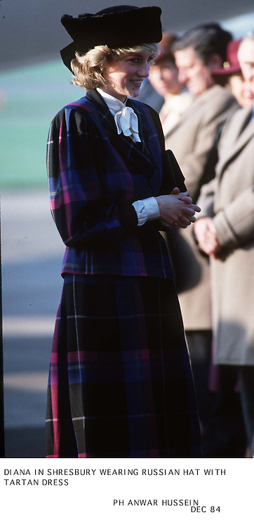 DIANA IN SHREWSBURY  WEARING RUSSIAN HAT  WITH TARTAN DRESS  DEC 84<br />