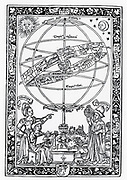 Urania, Muse of Astronomy, left, and Ptolemy using astrolabe, left. Woodcut 1521.