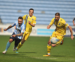 MARK BEEVERS MILLWALL, MILLWALLS MARK BEEVERS CHASES COVENTRYS ADAM ARMSTRONG, Coventry City v Millwall Sky Bet League One, Ricoh Arena, Saturday 16th April 2016<br /> Score 2-1