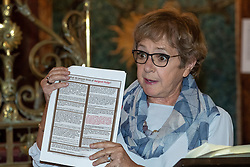 © Licensed to London News Pictures . 22/09/2019. Brighton, UK. MARGARET HODGE holds up far right literature circulated in her constituency which she says has been adopted by the left to attack her on social media , during a fringe event by the Jewish Labour Movement at middle Street Brighton Synagogue, during the second day of the 2019 Labour Party Conference from the Brighton Centre . Photo credit: Joel Goodman/LNP