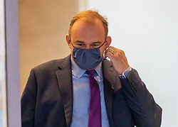 © Licensed to London News Pictures. 27/08/2020. London, UK. Ed Davey wearing a face mask leaves the Conrad Hotel in Westminster after being elected as the new Lib Dem leader. Sir Ed Davey MP for Kingston and Surbiton in South West London has been elected to lead the Lib Dem Party. He beat rival candidate Layla Moran by more than 18,000 votes . Photo credit: Alex Lentati/LNP