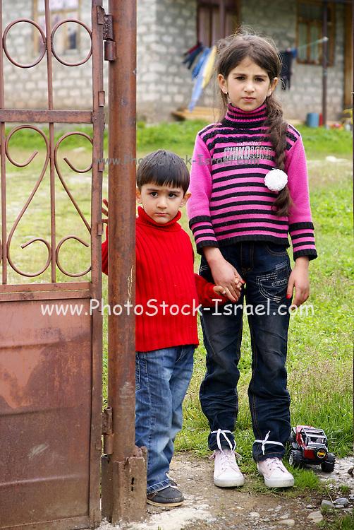 Georgia, Svaneti Region, Ushguli village two local children