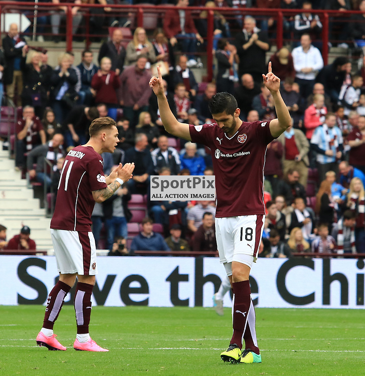 Heart's Igor Rossi celebrates his goal during the Heart of Midlothian FC  V Aberdeen FC  Scottish Premiership  20th September 2015  ©Edward Linton | SportPix.org.uk