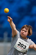 Chorzow, Poland - 2018 June 10: Special Olympics Athlete Natalia Karasiewicz throws while women's shot put athtletics competition during National Special Olympics Games 2018 at Slaski Stadium on June 10, 2018 in Chorzow, Poland.<br /> <br /> Adam Nurkiewicz declares that he has no rights to the image of people at the photographs of his authorship.<br /> <br /> Picture also available in RAW (NEF) or TIFF format on special request.<br /> <br /> Any editorial, commercial or promotional use requires written permission from the author of image.<br /> <br /> Image can be used in the press when the method of use and the signature does not hurt people on the picture.<br /> <br /> Mandatory credit:<br /> Photo by © Adam Nurkiewicz / Mediasport