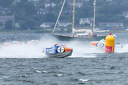The P1 Scottish Grand Prix of the Sea is the second of four events across the UK for the P1 Powerboat Championship taking place at Greenock.<br /> <br /> Pictured: Pertemps Network team leading Milford Waterfront Pembrokeshire Panther  and Platinum Products teams