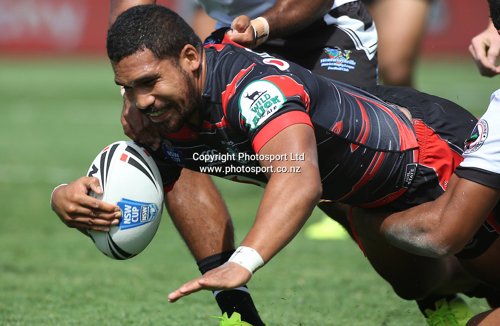 NZ Warriors player Siliva Havili dives over to score during the NSW Cup Match  between the NZ Warriors and the Wentworthville Magpies played at Mt Smart Stadium in South Auckland on the 21st March 2015. <br /> <br /> Credit; Peter Meecham/ www.photosport.co.nz