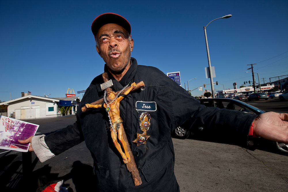 A mentally ill man preaches on the street on Feb. 3, 2011. Los Angeles, Calif. (photo by Gabriel Romero ©2011)