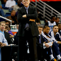 Mar 25, 2013; New Orleans, LA, USA; Denver Nuggets head coach George Karl against the New Orleans Hornets during the second half of a game at the New Orleans Arena. The Hornets defeated the Nuggets 110-86. Mandatory Credit: Derick E. Hingle-USA TODAY Sports