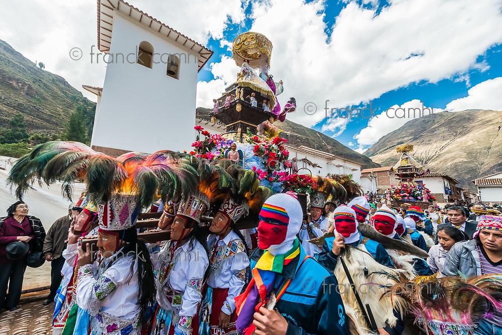 Pisac, Peru - July 16, 2013: Virgen del Carmen parade in the peruvian Andes at Pisac Peru on july 16th, 2013