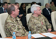 Image shows a press conference for Exercise Civil Bridge held at the Ministry of Security in Sarajevo, Bosnia &amp; Herzegovina (BiH). 17/03/2015.<br /> <br /> The press conference was attended by representatives of the BiH governmment and the British Ambassador to BiH, Edward Furguson, Brigadier Alistair Aitkin, (pictured) Commander Security Assistance Group (77 Brigade) and Defence Attache Lieutentant Colonel Paul Marshall (left)<br /> <br /> Credit should read: Cpl Mark Larner, Media Ops Group.<br /> <br /> Exercise Civil Bridge is an exercise in support of UK Defence Engagement by elements of 77 Brigade. Civil Bridge 14B (CB14B) is being conducted Sarajevo, Bosnia &amp; Herzegovina (BiH).<br /> <br /> By assisting the BiH Government to develop their contingency plans for natural disasters at both strategic and operational levels, CB14B will contribute to the long term international effort to stabilise BiH ethnic groups and authorities.