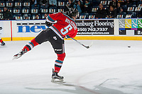 KELOWNA, CANADA - NOVEMBER 26: Konrad Belcourt #5 of the Kelowna Rockets warms up with the puck against the Regina Pats on November 26, 2016 at Prospera Place in Kelowna, British Columbia, Canada.  (Photo by Marissa Baecker/Shoot the Breeze)  *** Local Caption ***