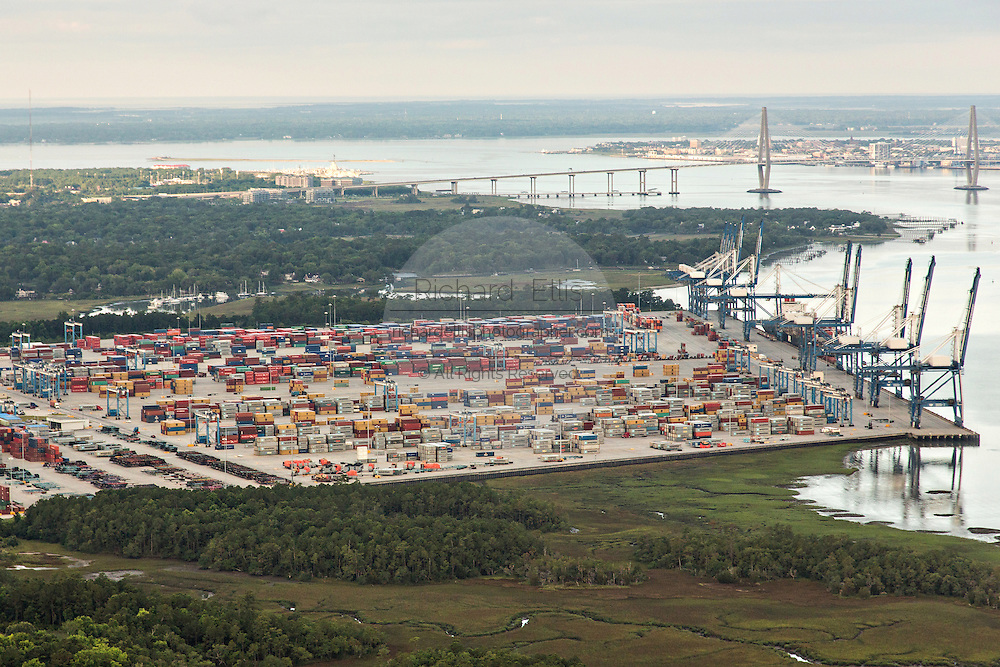 Aerial view of the Port of Charleston Wando Terminal in Charleston, SC.