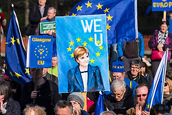 Edinburgh, Scotland,UK. 24 March 2018. March for Europe: Democracy on Brexit march and demonstration outside the Scottish Parliament at Holyrood today.  Large crowd of pro-Europe anti-Brexit protestors met to listen to speeches.