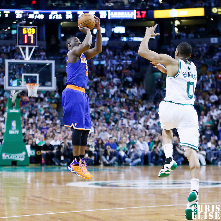 28 April 2013: New York Knicks point guard Raymond Felton (2) takes a jumpshot during Boston Celtics overtime 97-90 victory over the New York Knicks during Game Four of the Eastern Conference Quarterfinals of the 2013 NBA Playoffs at the TD Garden, Boston, Massachusetts, USA.