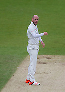 Chris Rushworth  (Durham County Cricket Club) is unhappy at the umpires decision during the LV County Championship Div 1 match between Durham County Cricket Club and Hampshire County Cricket Club at the Emirates Durham ICG Ground, Chester-le-Street, United Kingdom on 3 September 2015. Photo by George Ledger.