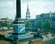 World War 11 1939-45.  Trafalgar Square , london during World War II colour photograph.