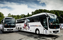Offcial busses of Czech and Slovenian teams in front of the arena prior to the 2017 IIHF Men's World Championship group B Ice hockey match between National Teams of Czech Republic and Slovenia, on May 12, 2017 in AccorHotels Arena in Paris, France. Photo by Vid Ponikvar / Sportida