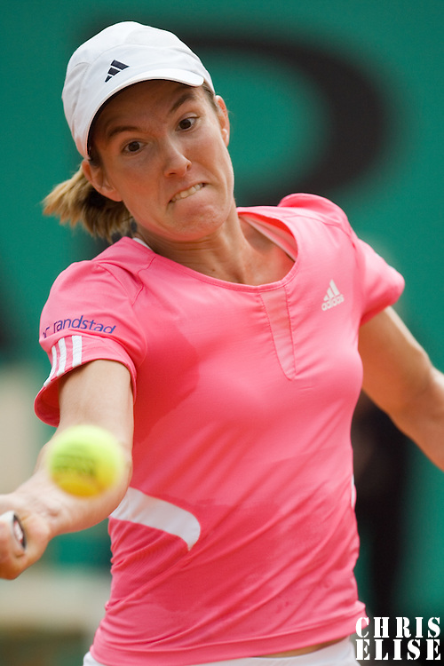 07 June 2007: Belgian player Justine Henin hits a forehand shot to Serbian player Jelena Jankovic during the French Tennis Open semi final won 6-2, 6-2 by Justine Henin over Jelena Jankovic on day 12 at Roland Garros, in Paris, France.