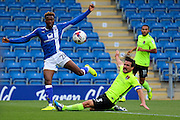 Chesterfield midfielder Gboly Ariyibi (28) strikes at goal during the EFL Sky Bet League 1 match between Chesterfield and Northampton Town at the Proact stadium, Chesterfield, England on 17 September 2016. Photo by Aaron  Lupton.