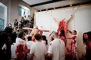 Napoli, Italia - 23 maggio 2010. Performance del maestro dell'azionismo contemporaneo Hermann Nitsch all'interno del museo Nitch di Napoli..Ph. Roberto Salomone Ag. Controluce.ITALY - Performance of contemporary artist Hermann Nitsch at Nitsch museum in Naples on May 23, 2010.