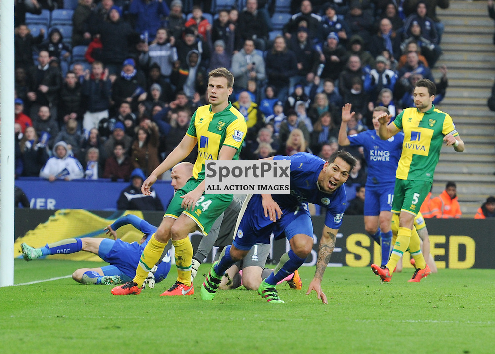 Leonardo Ulloa turns away to celebrate after giving Leicester a 1-0 lead late in the game (c) Simon Kimber | SportPix.org.uk