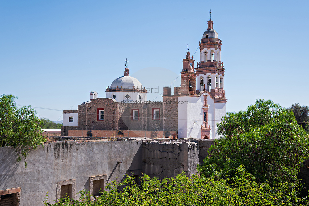 The Iglesia de San Diego De Alcalá as seen from the Hacienda de Jaral de Berrio in Jaral de Berrios, Guanajuato, Mexico. The abandoned Jaral de Berrio hacienda was once the largest in Mexico and housed over 6,000 people on the property.