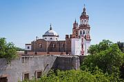 The Iglesia de San Diego De Alcalá as seen from the Hacienda de Jaral de Berrio in Jaral de Berrios, Guanajuato, Mexico. The abandoned Jaral de Berrio hacienda was once the largest in Mexico and housed over 6,000 people on the property.
