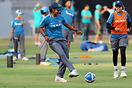 Shikha Pandey of Indiaplay football before the start of the second women's one day International ( ODI ) match between India and Australia held at the Reliance Cricket Stadium in Vadodara, India on the 15th March 2018<br /> <br /> Photo by Vipin Pawar / BCCI / SPORTZPICS