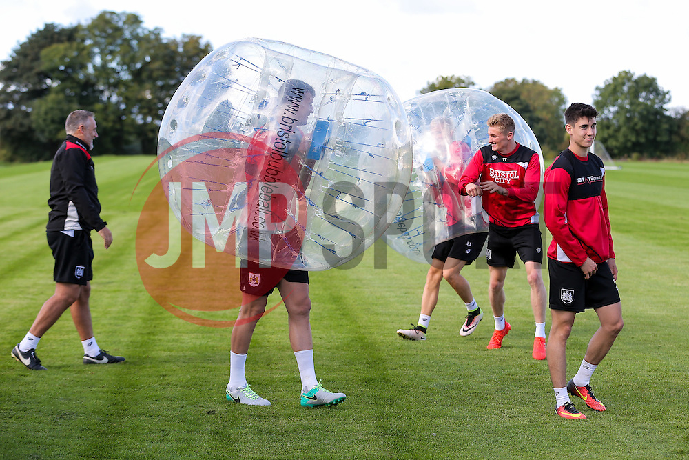 Bristol City play Football Darts from Bristol Bubble Ball Ltd after training - Rogan Thomson/JMP - 30/09/2016 - FOOTBALL - Failand Training Ground - Bristol, England.