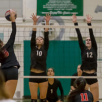 Homestead Girls Volleyball #10 Stephine Zhang and #12 Stella Waldow defend the net vs Monta Vista-Danville in the CIF Division II Northern regional tournament at Homestead High School, Cupertino CA on 11/6/18. (Photograph by Bill Gerth)(Homestead 3 Monta Vista-Danville 1)