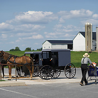 "An Amish man pushes a cart of supplies from a hardware store to his buggy in Bird in Hand, PA on August 9, 2014.  A bevy of Amish themed reality television shows (Amish Mafia, Breaking Amish, Return to Amish and Amish Haunting - to be televised soon) have prompted controversy over the negative portrayal.  One woman, a Mary Haverstick, a film maker, has launched a website in support of the Amish (respectamish.org) and has garnered the support of 3,000 businesses.  Her motivation to start the website was to ""end the bigoted programming.""  REUTERS/Mark Makela (UNITED STATES)"