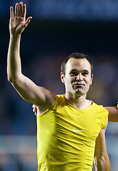 LONDON, ENGLAND - Wednesday, May 6, 2009: Barcelona's match-winner Andres Iniesta celebrates after a dramatic injury time winning away goal defeated Chelsea during the UEFA Champions League Semi-Final 2nd Leg match at Stamford Bridge. (Photo by David Rawcliffe/Propaganda)