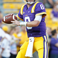 September 10, 2011; Baton Rouge, LA, USA;  LSU Tigers quarterback Zach Mettenberger (8) prior to kickoff of a game against the Northwestern State Demons at Tiger Stadium.  LSU defeated Northwestern State 49-3. Mandatory Credit: Derick E. Hingle-US PRESSWIRE